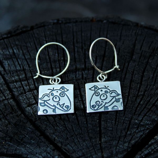 Dog earrings, small Rex and Tippy, polished silver